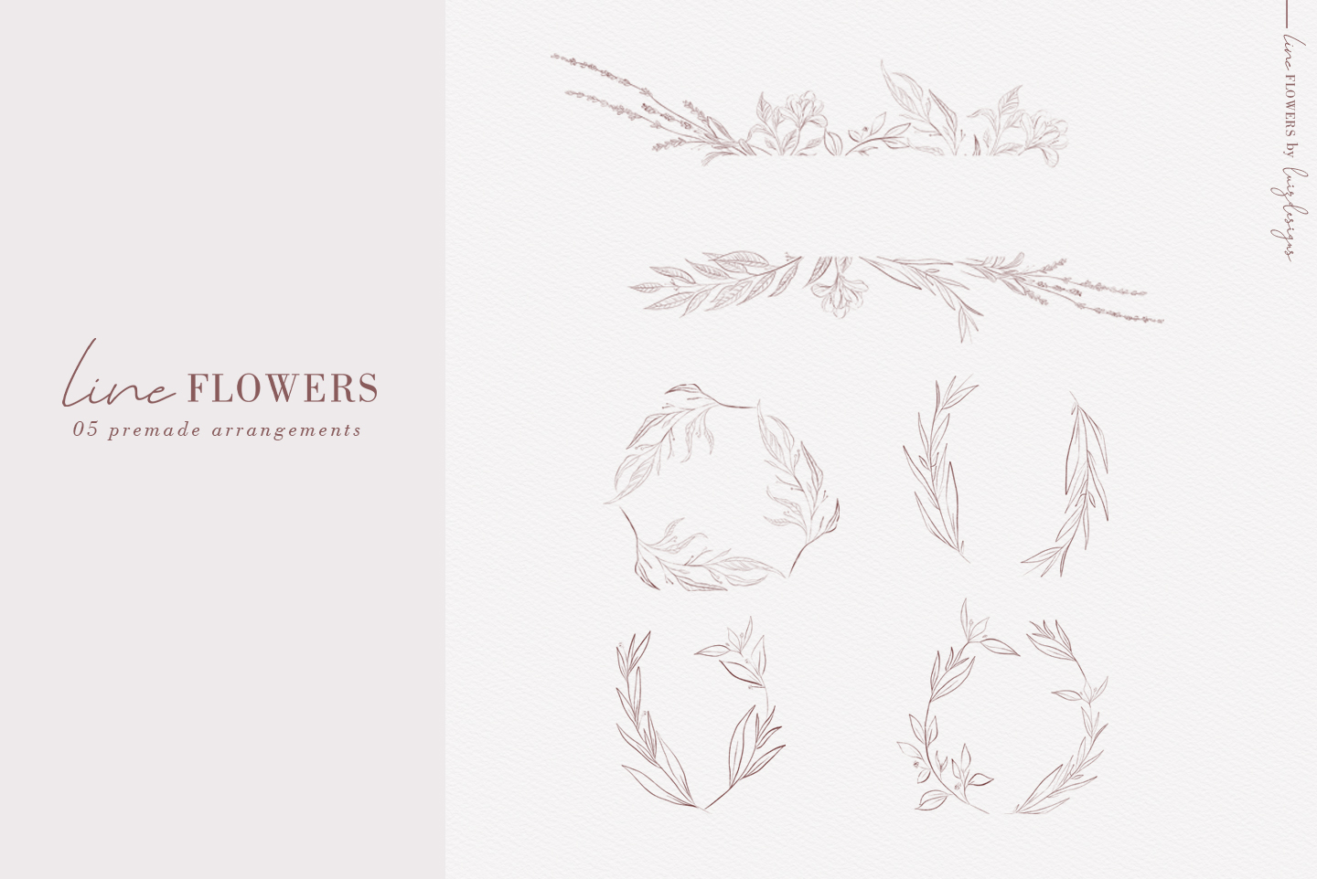 Line Flowers| Leafs Clipart example image 3