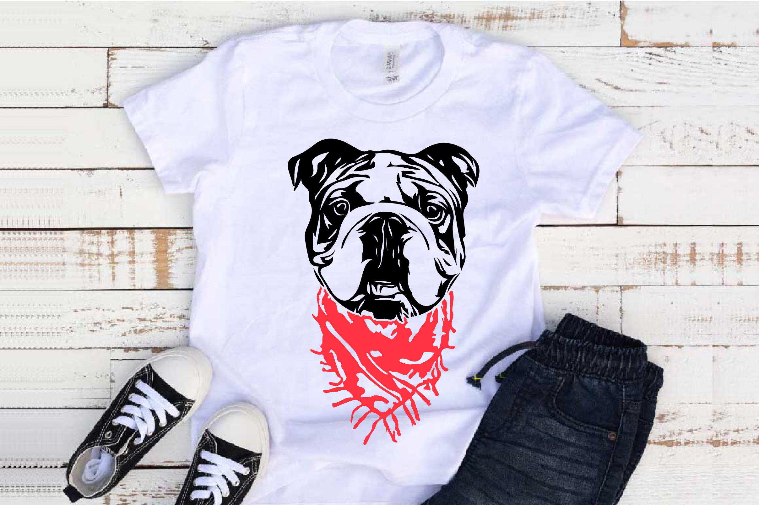 Bulldog Whit Scarf SVG Head French Dog 4th July 1268S example image 1
