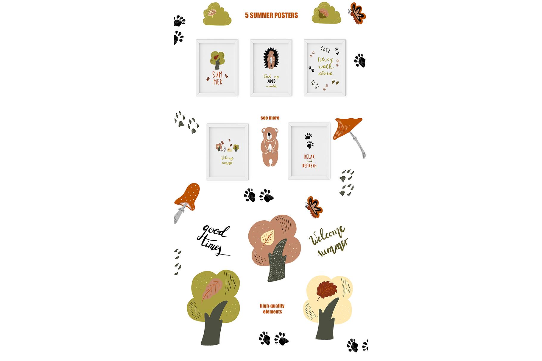Summer Walk Kids vector clipart, vector baby nursery clipart example image 8