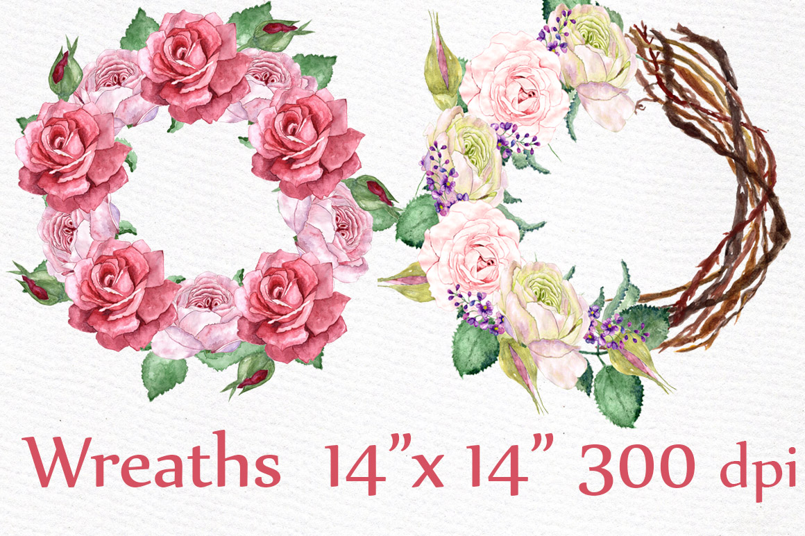 Watercolor roses clip art example image 4