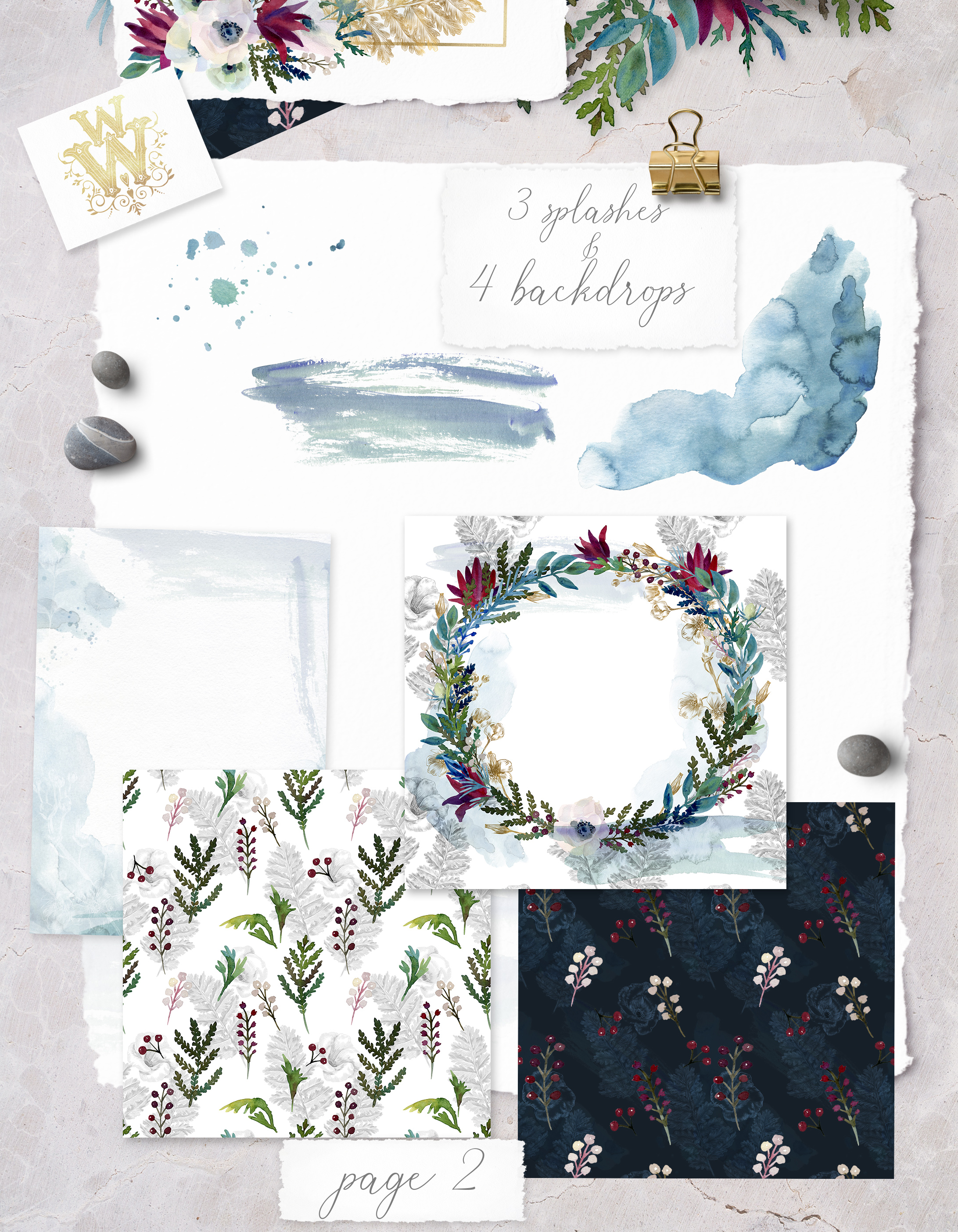 Watercolor white flowers frame, wedding wreath invitation example image 3