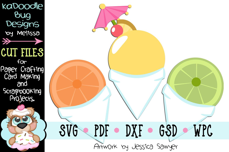 Citrus Fruit Snowcones Cut File - SVG PDF DXF GSD WPC example image 1