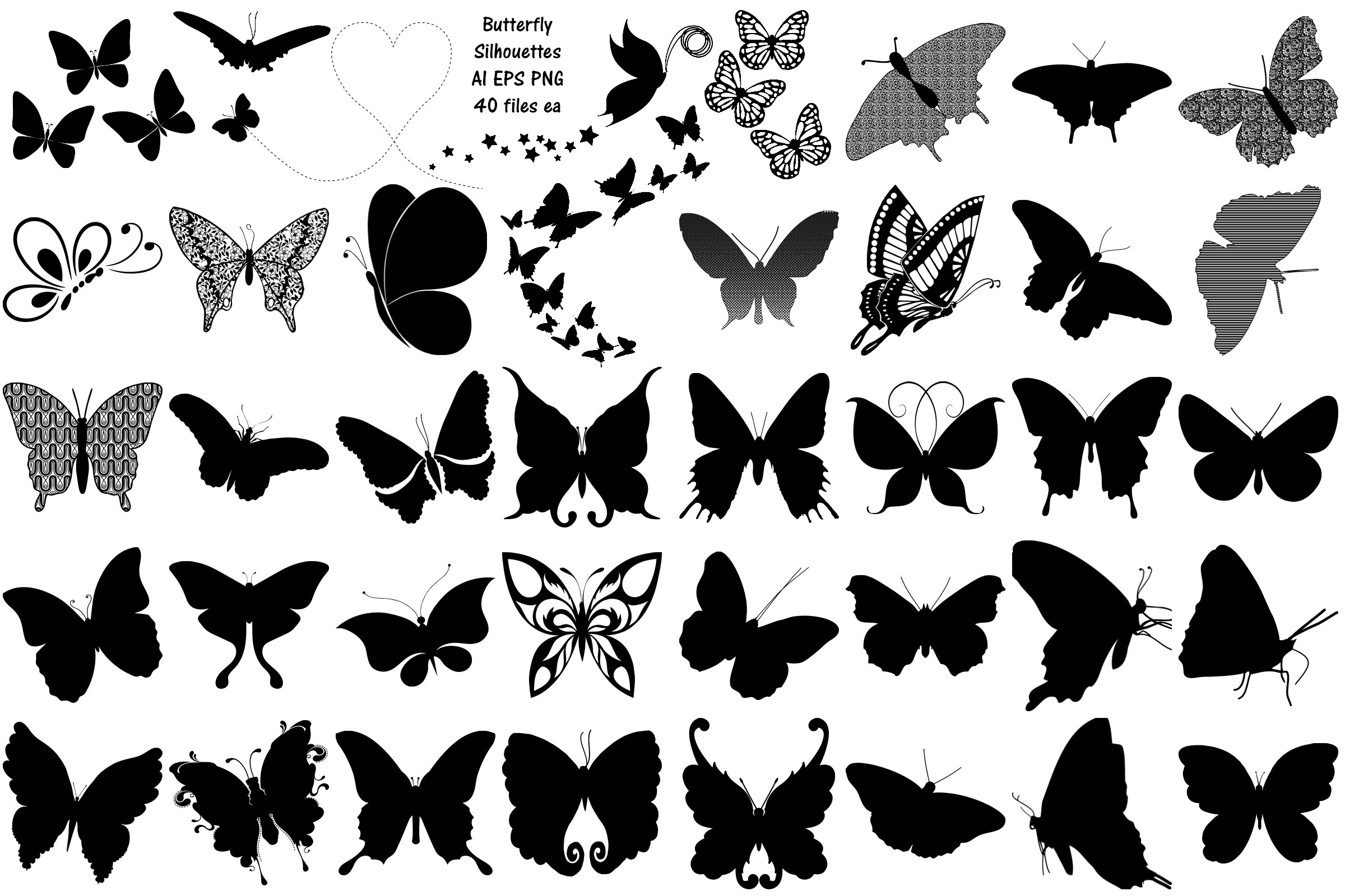 Butterfly Silhouettes AI EPS PNG example image 1