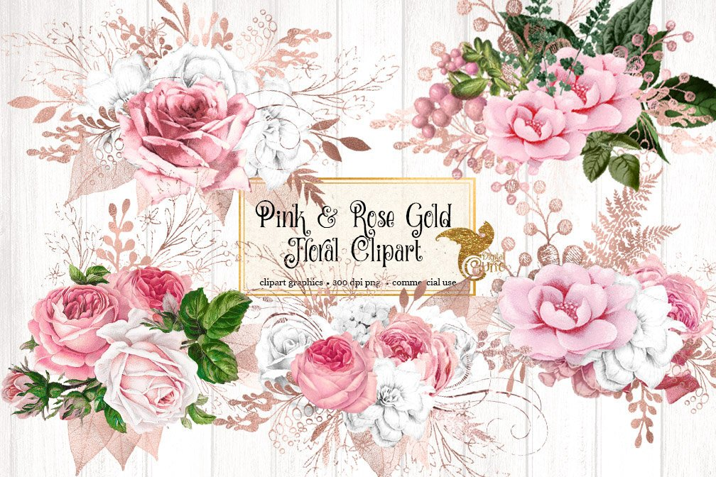 Blush Pink and Rose Gold Floral Clipart example image 1