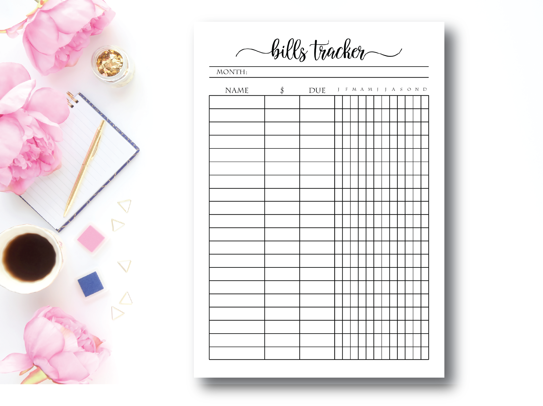 It is an image of Free Printable Bill Tracker with month by month