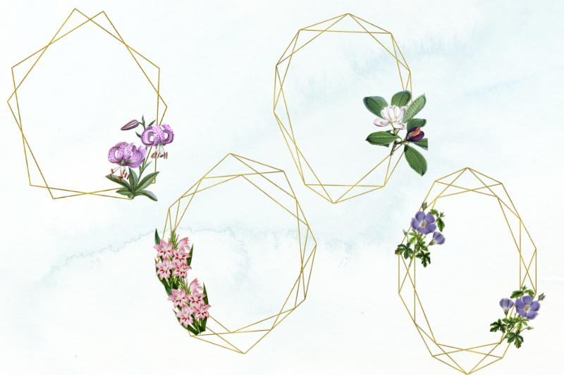 15 Vintage Wedding Geometric Frames, Wedding Floral Frames example image 2