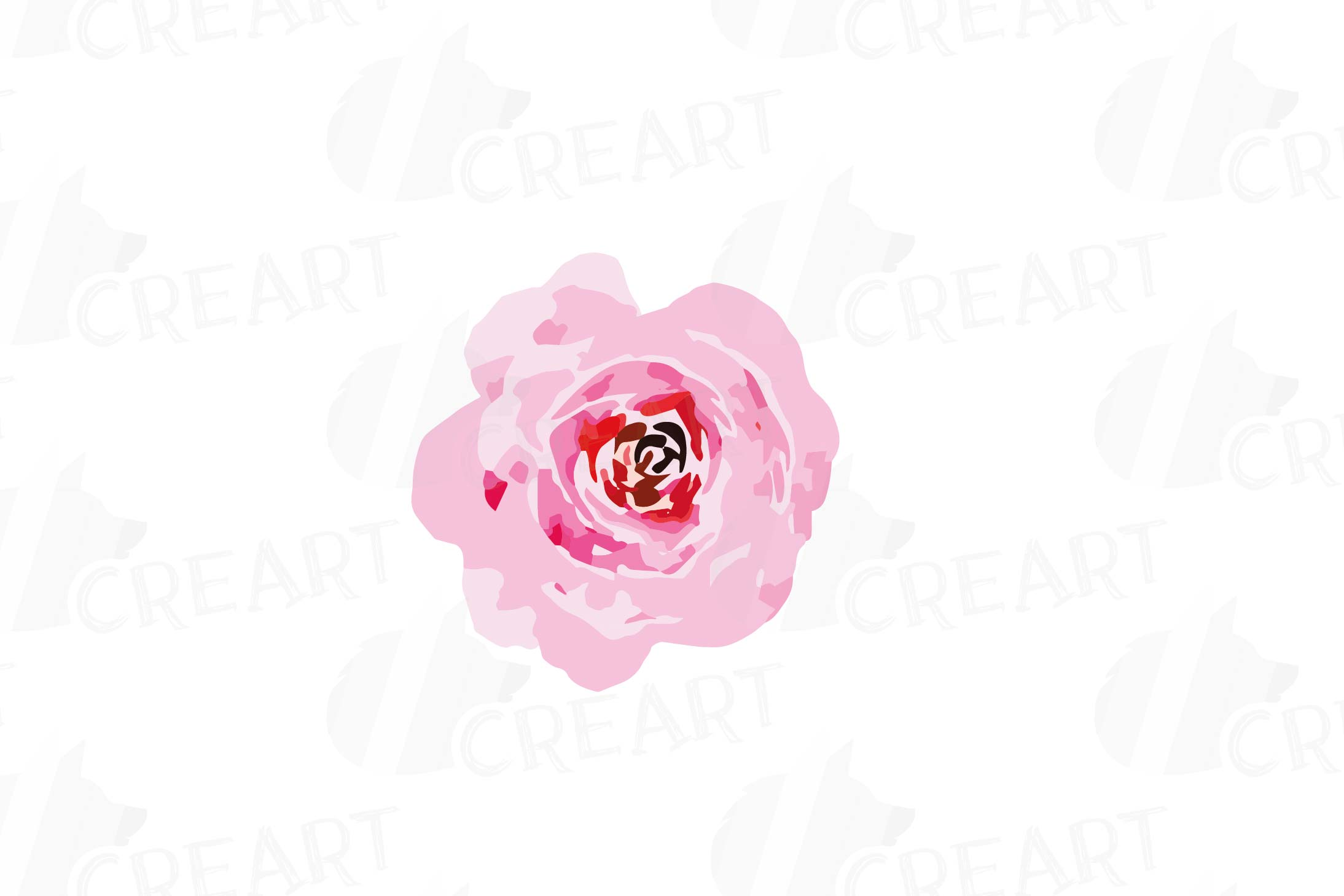 Watercolor Pink and Blue Roses and leafs clip art pack, png example image 15