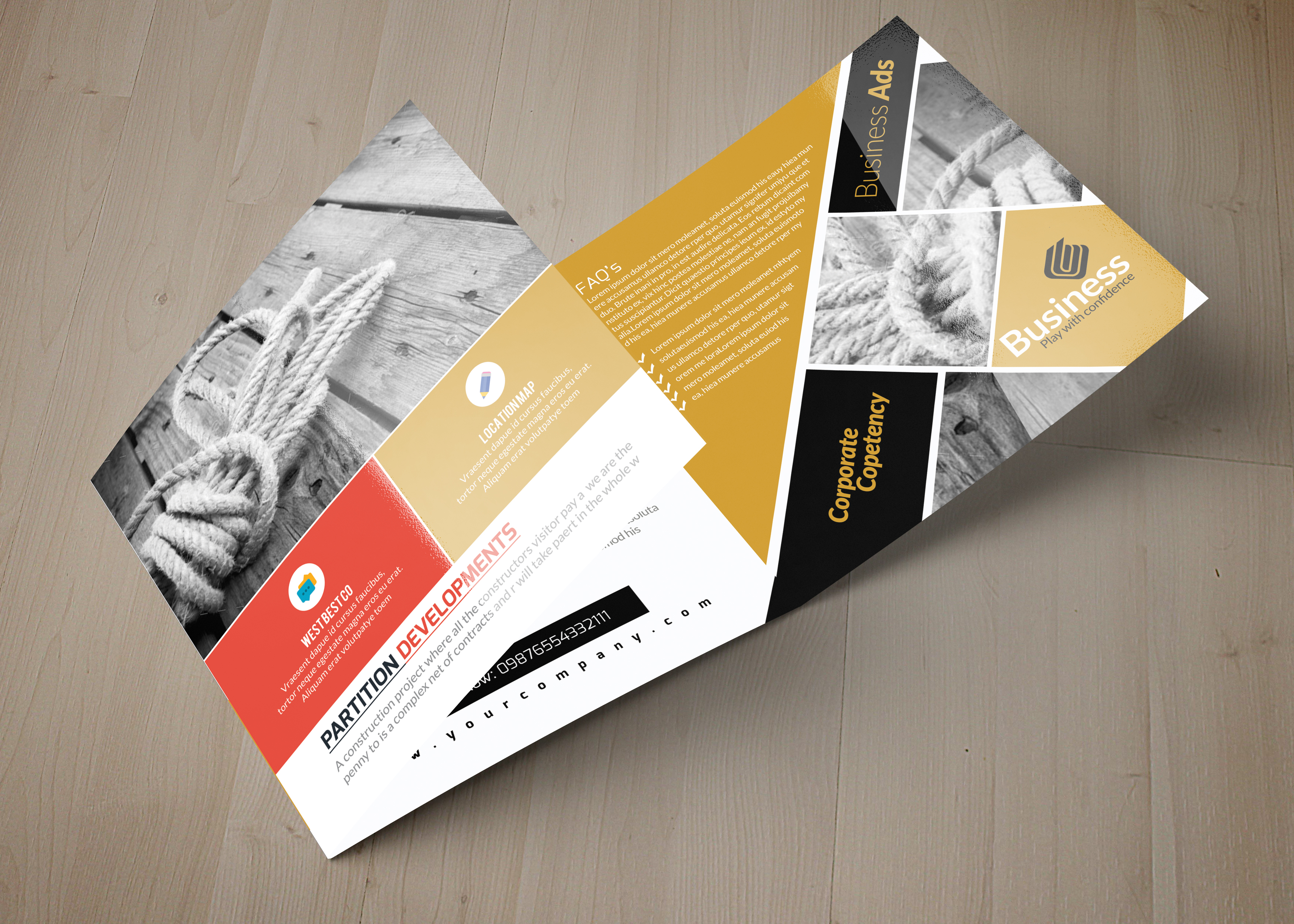 Business Square Trifold Brochure example image 3