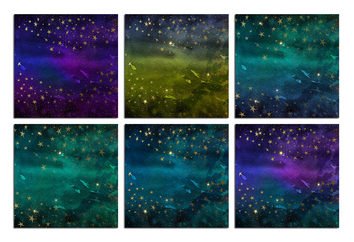 Watercolor Gold Stars and Galaxy Backgrounds example image 3