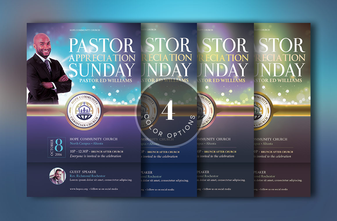Blue Pastor Appreciation Flyer Template example image 4