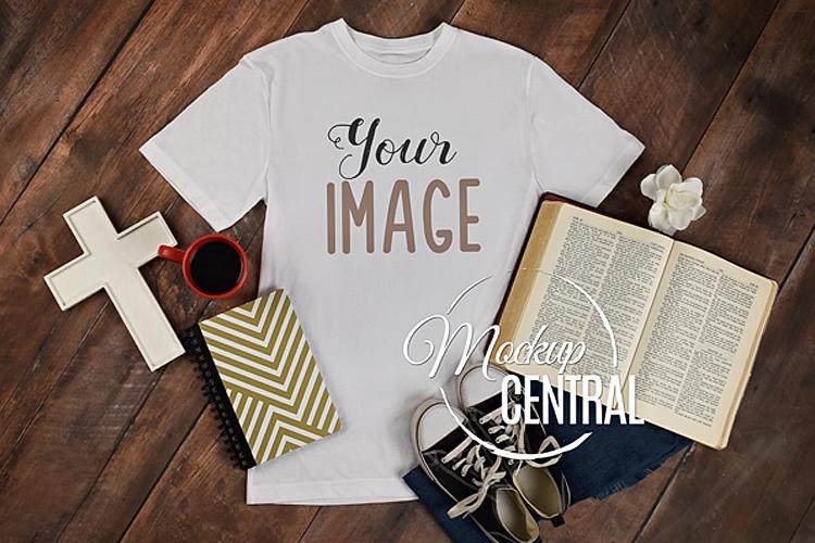 Religious Bible Christian T-Shirt Apparel Shirt Mockup JPG example image 1