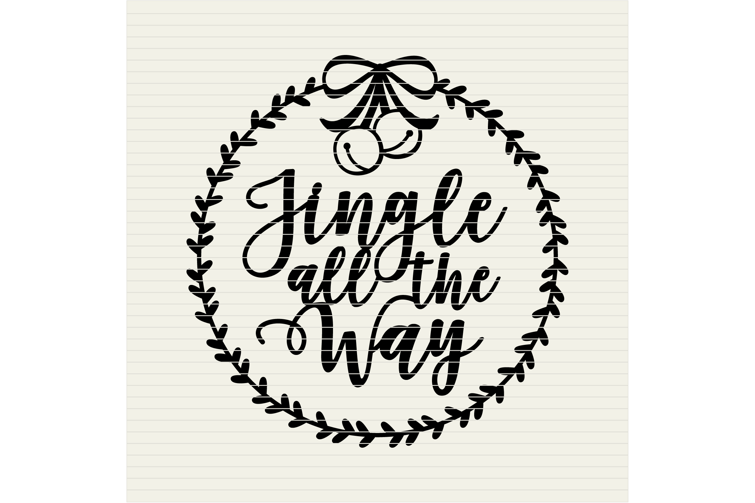 Jingle all the Way with wreath Christmas design- SVG DXF EPSPNG - Cricut & Silhouette - clean cutting files example image 2