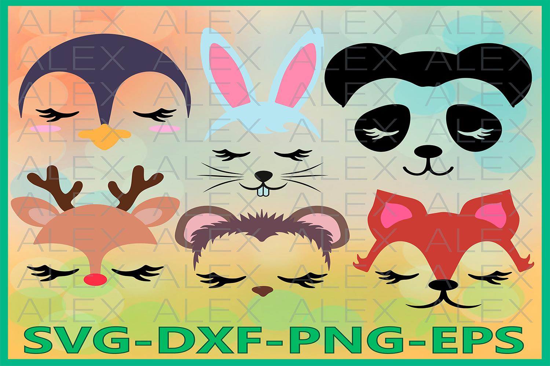 Animal Face Svg, Animal SVG, Girls Face Files svg, Eyelashes example image 1