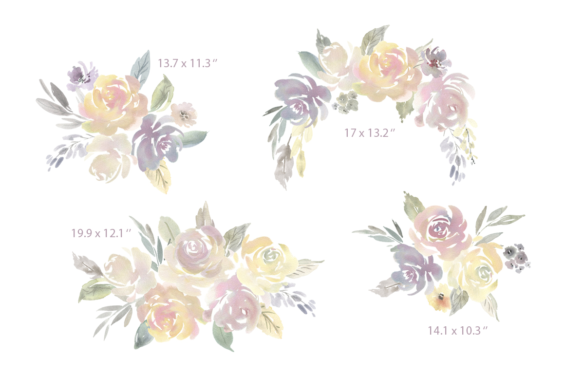 Watercolor Light Flowers Bouquets Roses Peonies PNG example image 3