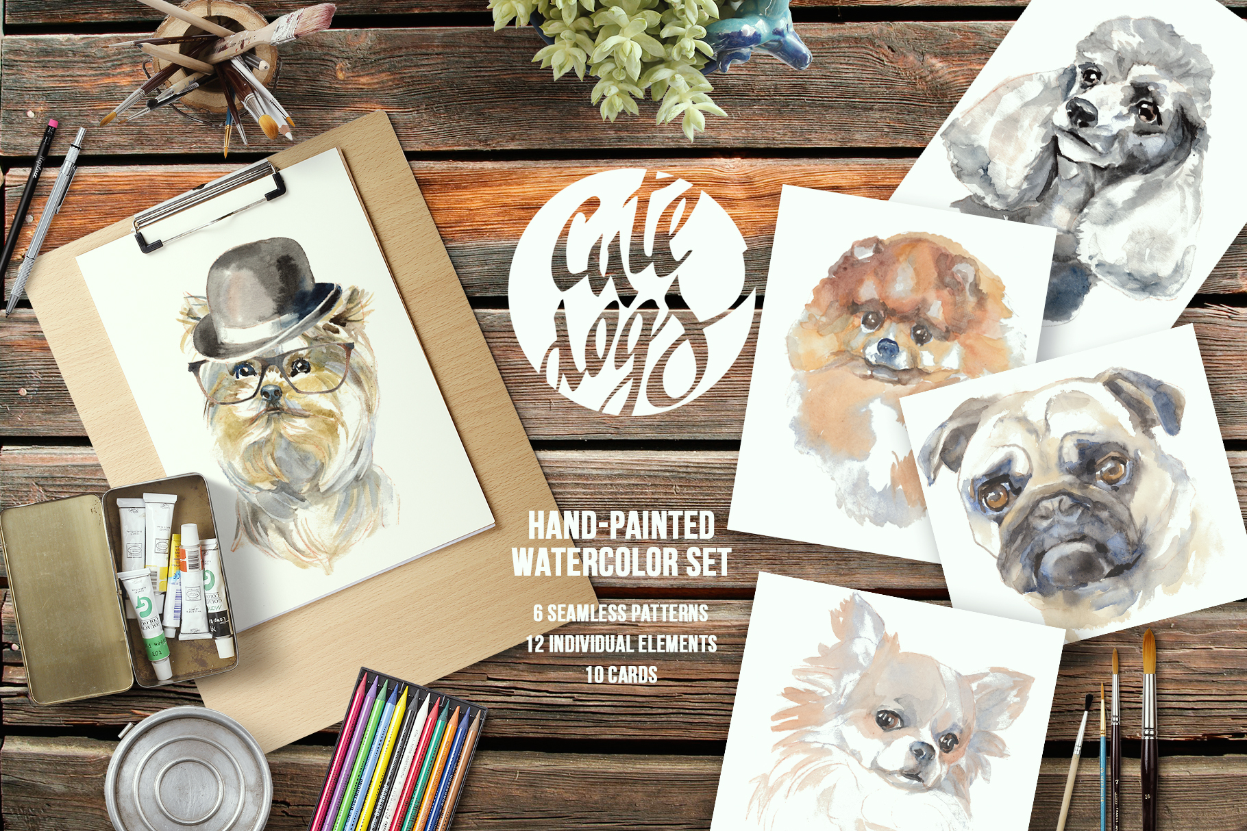 Cute dogs watercolor set example image 1