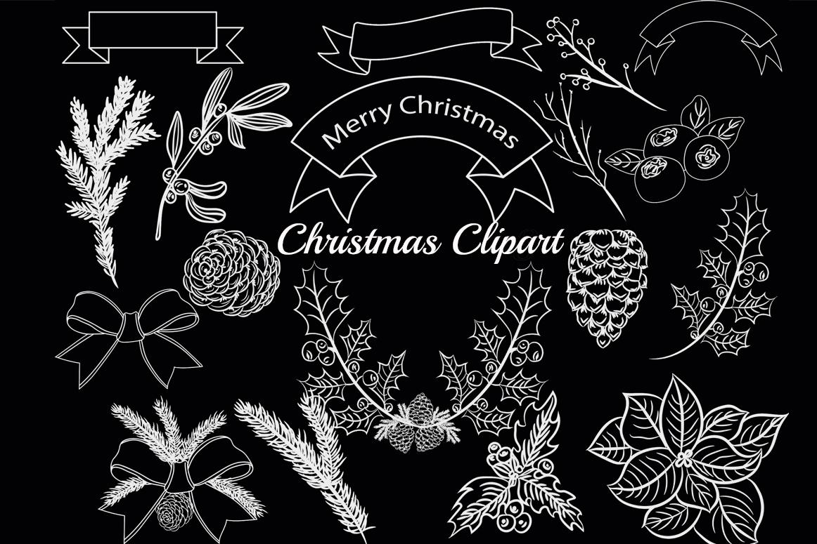 Chalkboard Christmas clipart example image 1