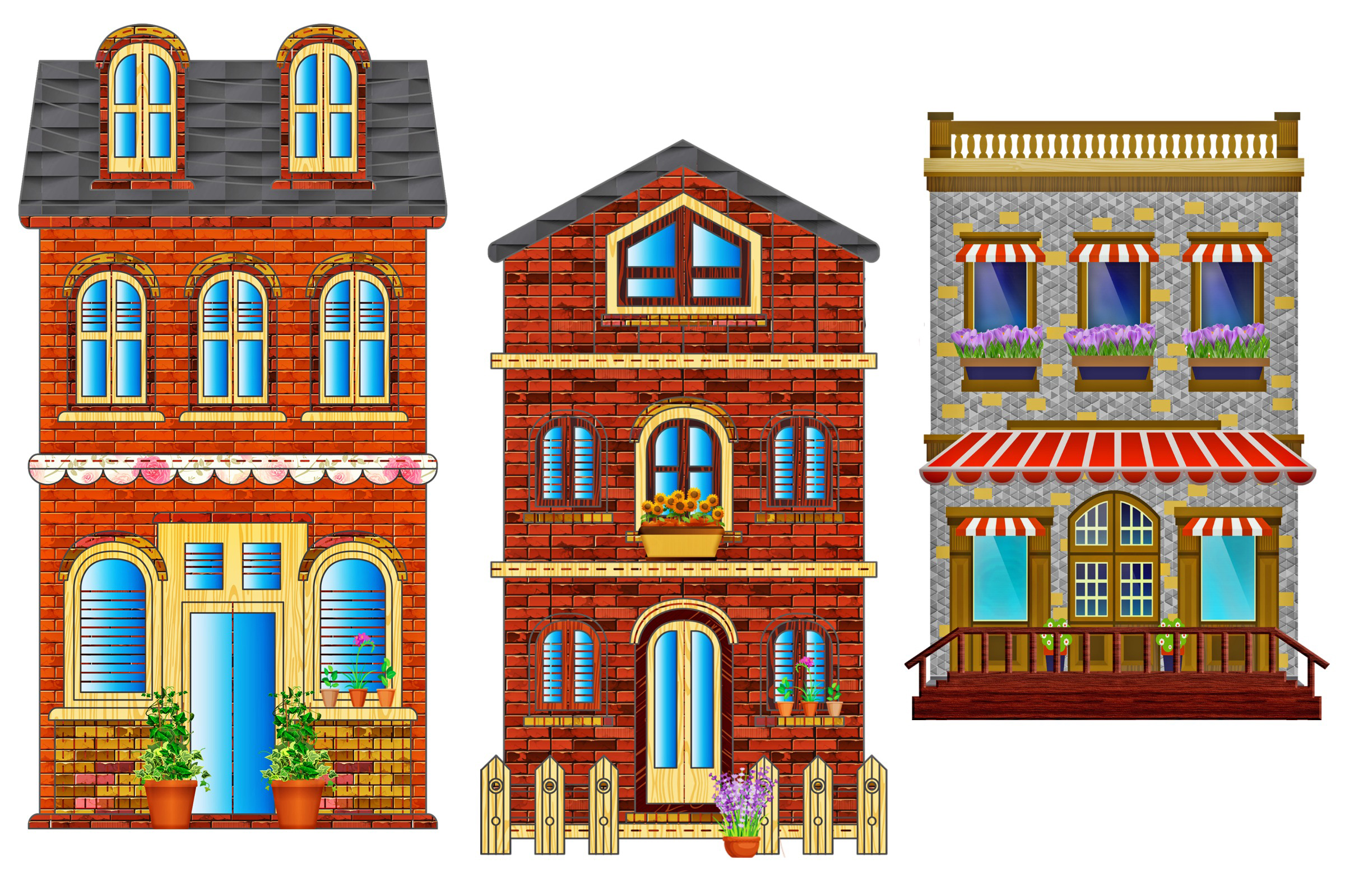 Wood Brick Stone Buildings and House Clip Art (2400 x 1600 Pixel)