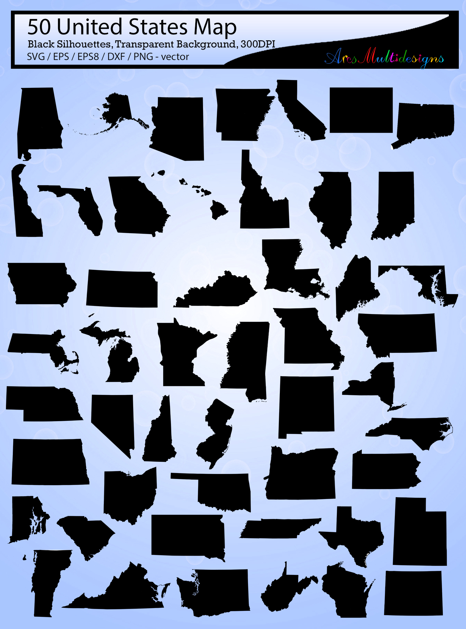 united states map vector 50 / Usa map silhouette / SVG / EPS / PNG / Dxf /  united states map clipart / 50SVG example image 2