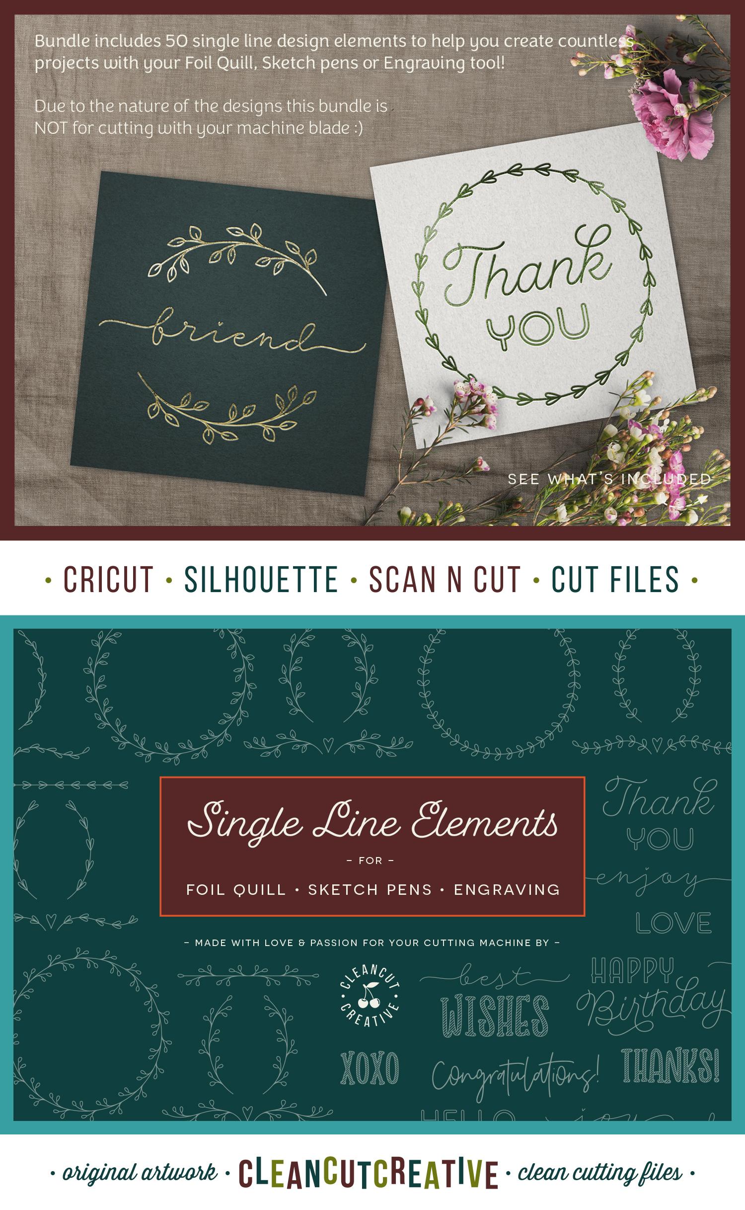 Foil Quill | Single Line | Sketch | SVG design elements example image 12