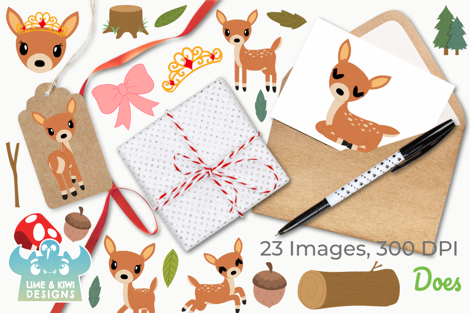 Does Deer Clipart, Instant Download Vector Art example image 4