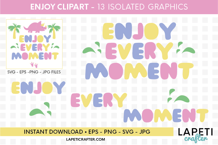 Enjoy every moment printable quote, pink dinosaur printable example image 6