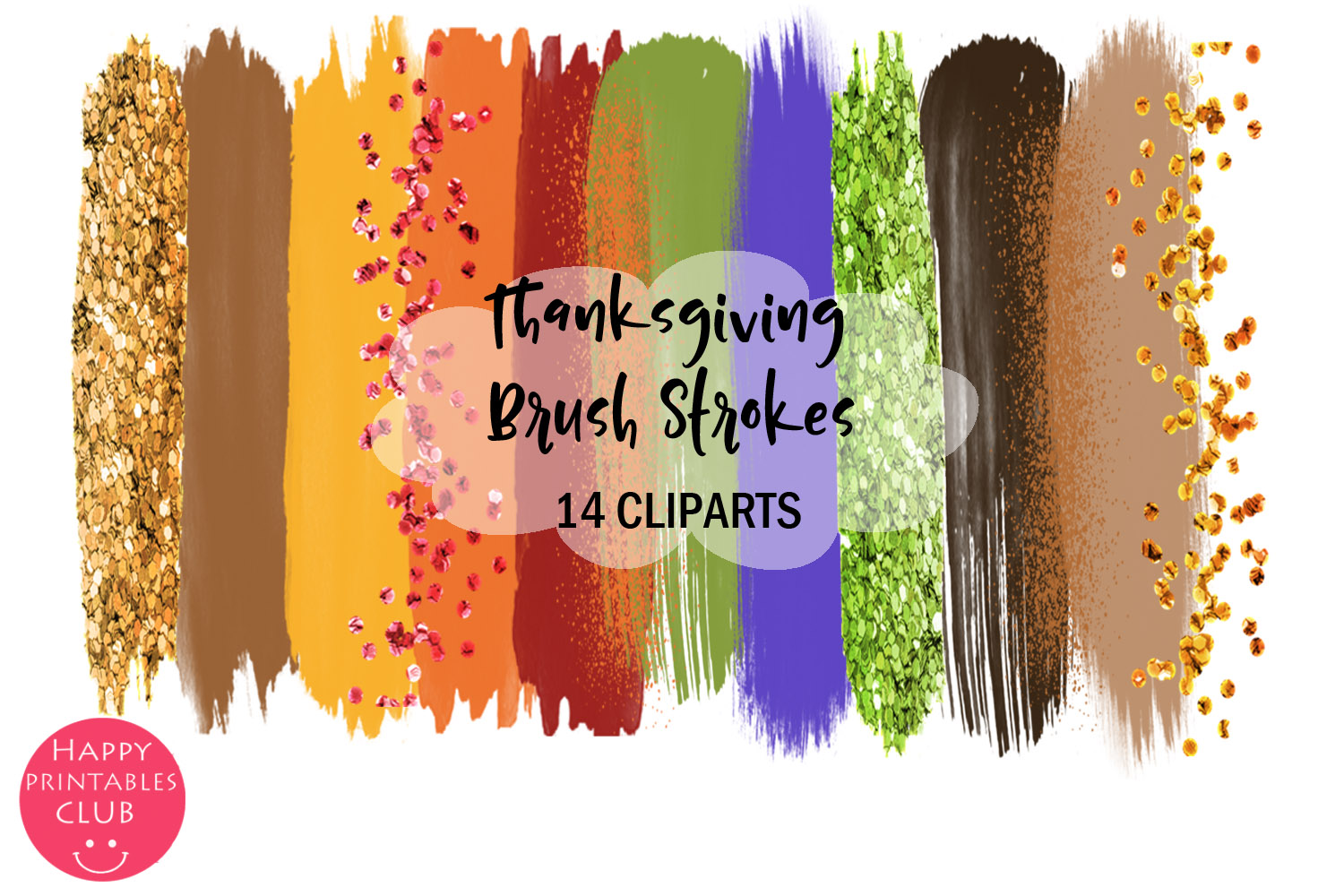 Thanksgiving Brush Strokes Clipart- Brush Strokes Clipart example image 1