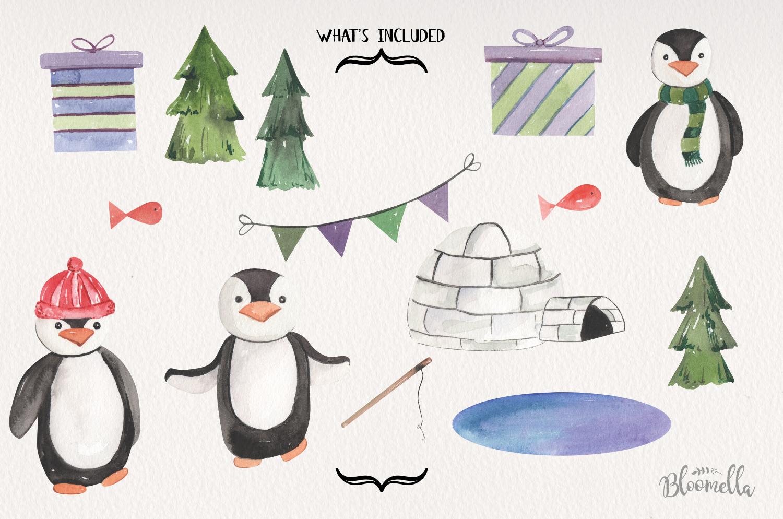 Penguins Watercolor 15 Elements Cute Trees Winter Xmas Fun example image 2