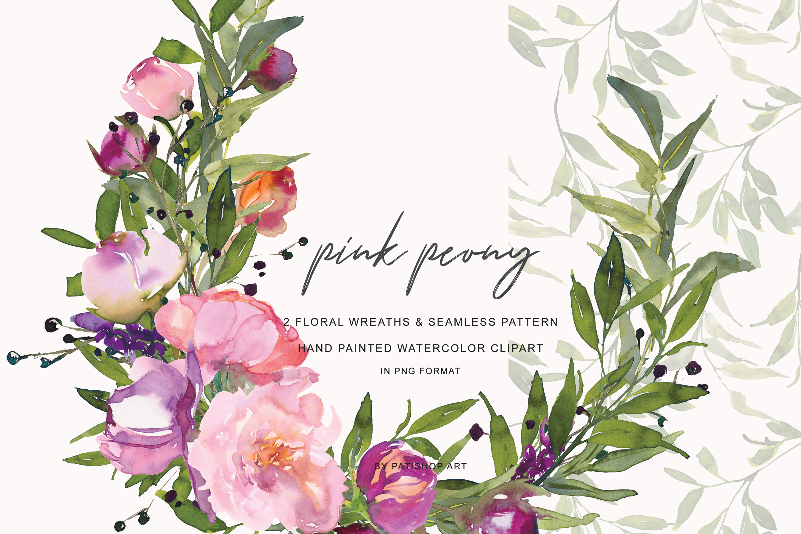 Watercolor Pink Peony Wreath Set example image 3