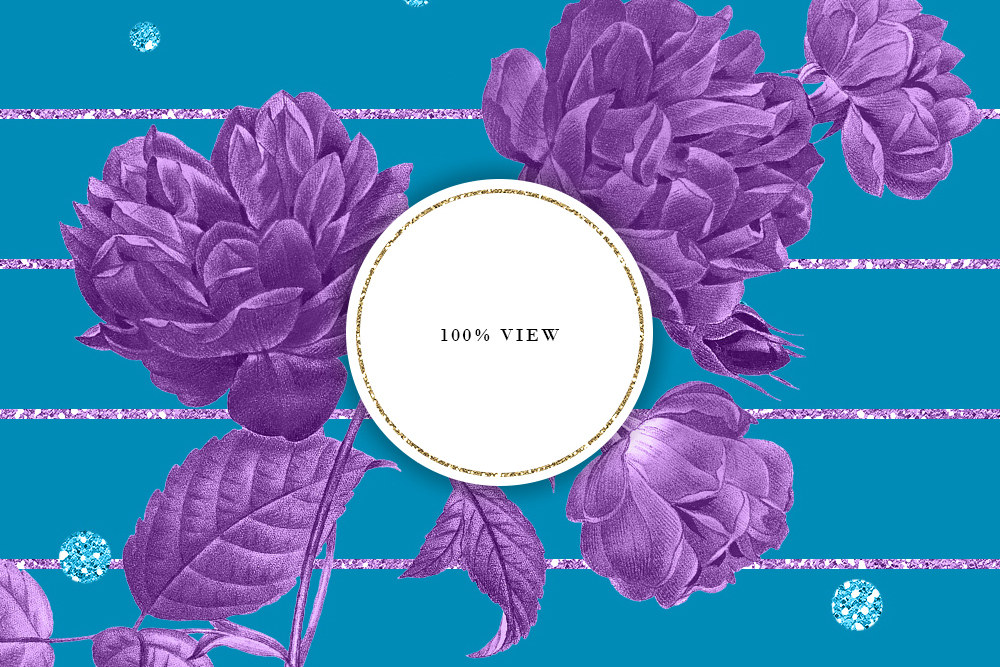 Blue & Purple Tileable Backgrounds With Flower Illustrations example image 4