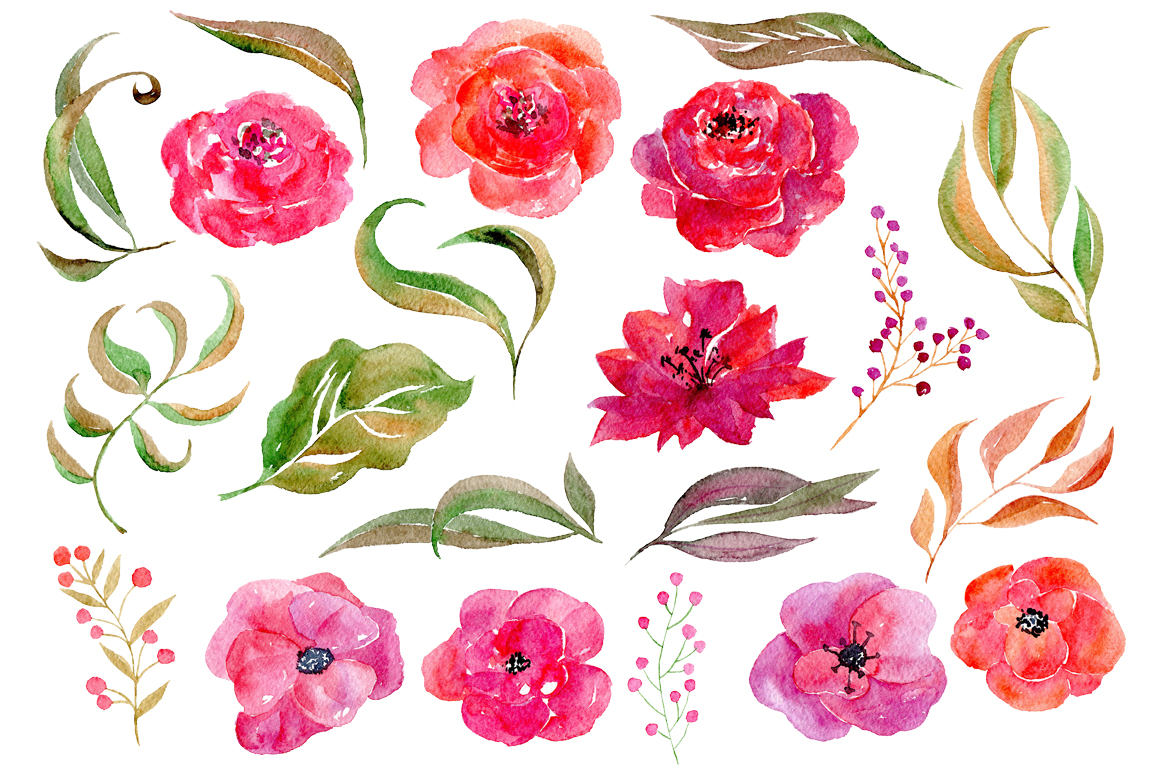 Watercolor flowers, 21 png clipart example image 2