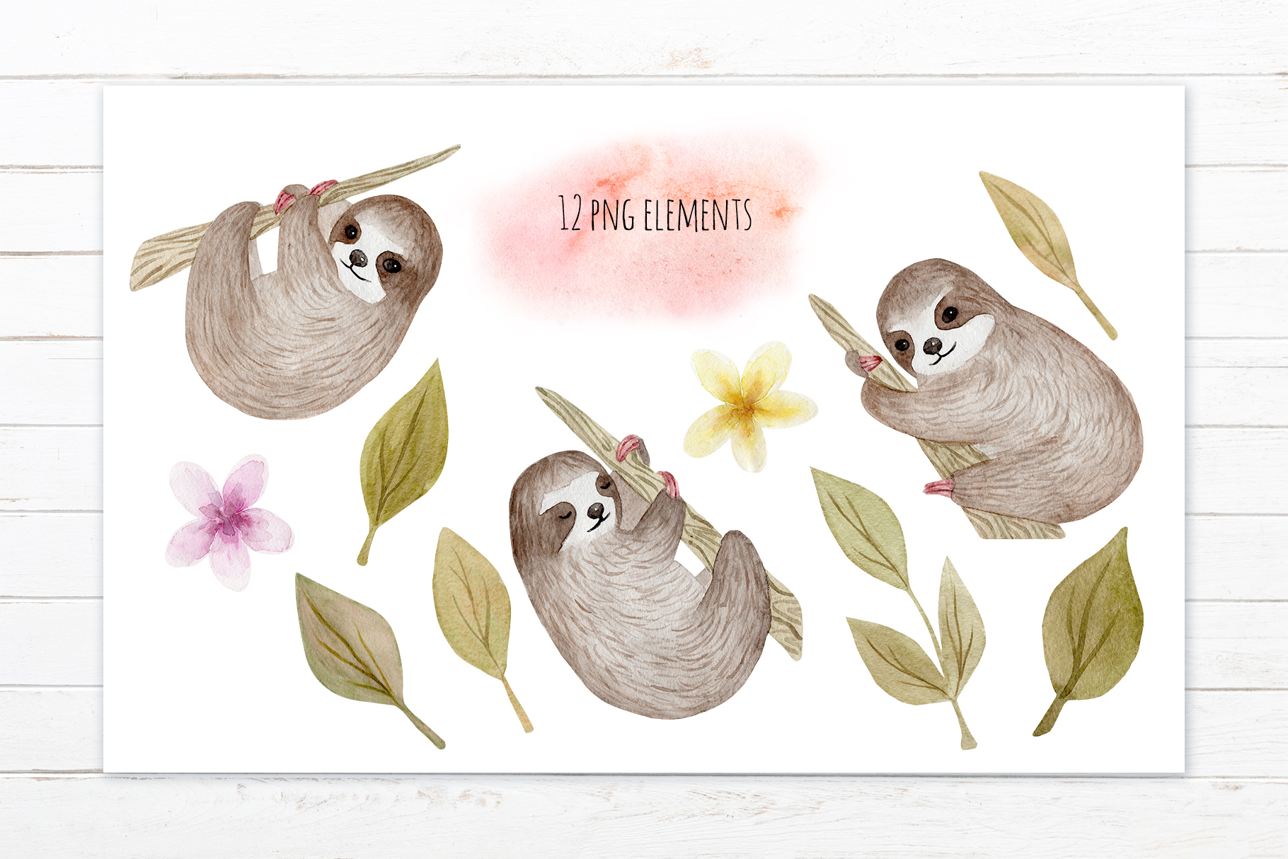 Cute Sloth. Watercolor Patterns example image 2