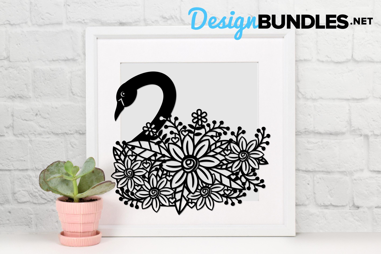 Swan paper cut design example image 2