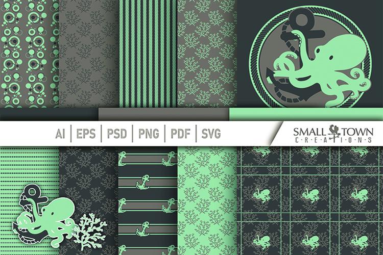 Octopus, Nautical, Ocean, pattern paper, PRINT, CUT & DESIGN example image 1