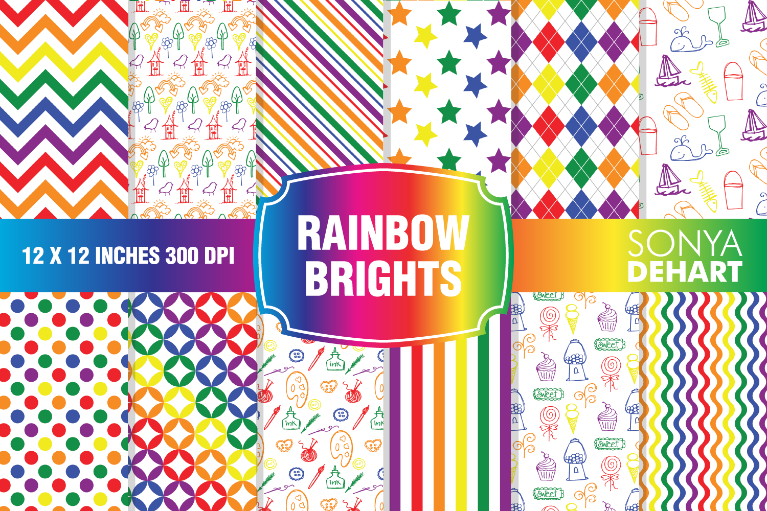 Rainbow Bright Digital Paper Pattern Pack example image 1