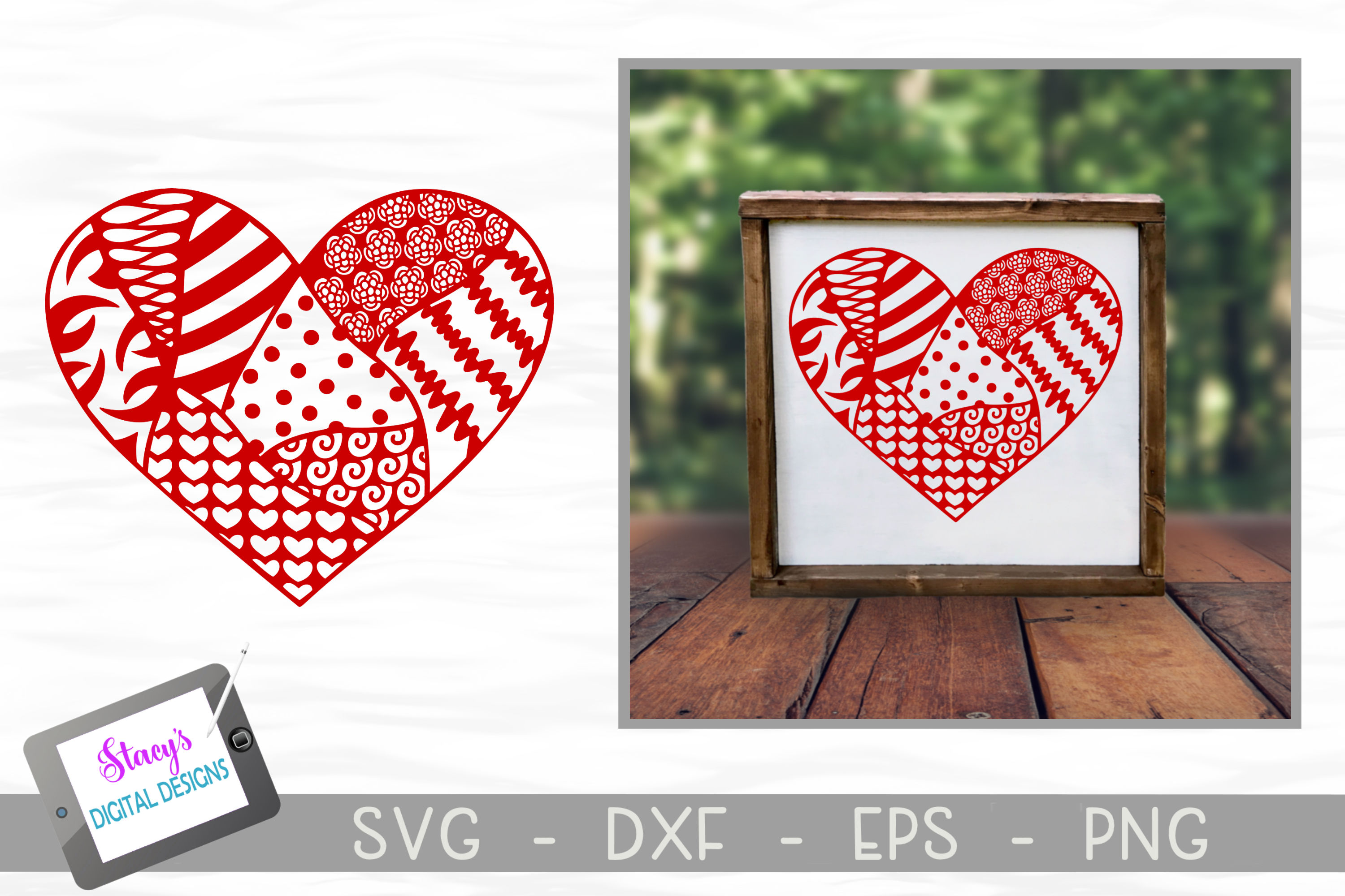 Heart SVG with doodle patterns example image 2