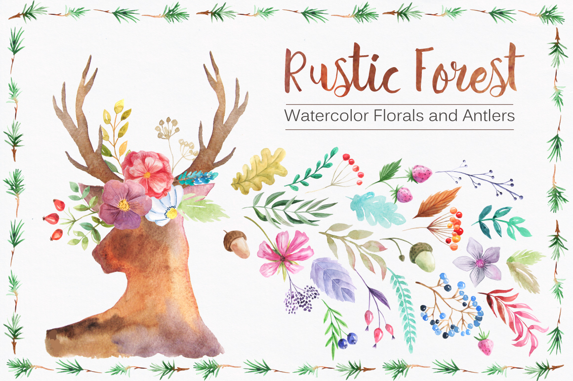 Summer Watercolor Floral BUNDLE example image 22