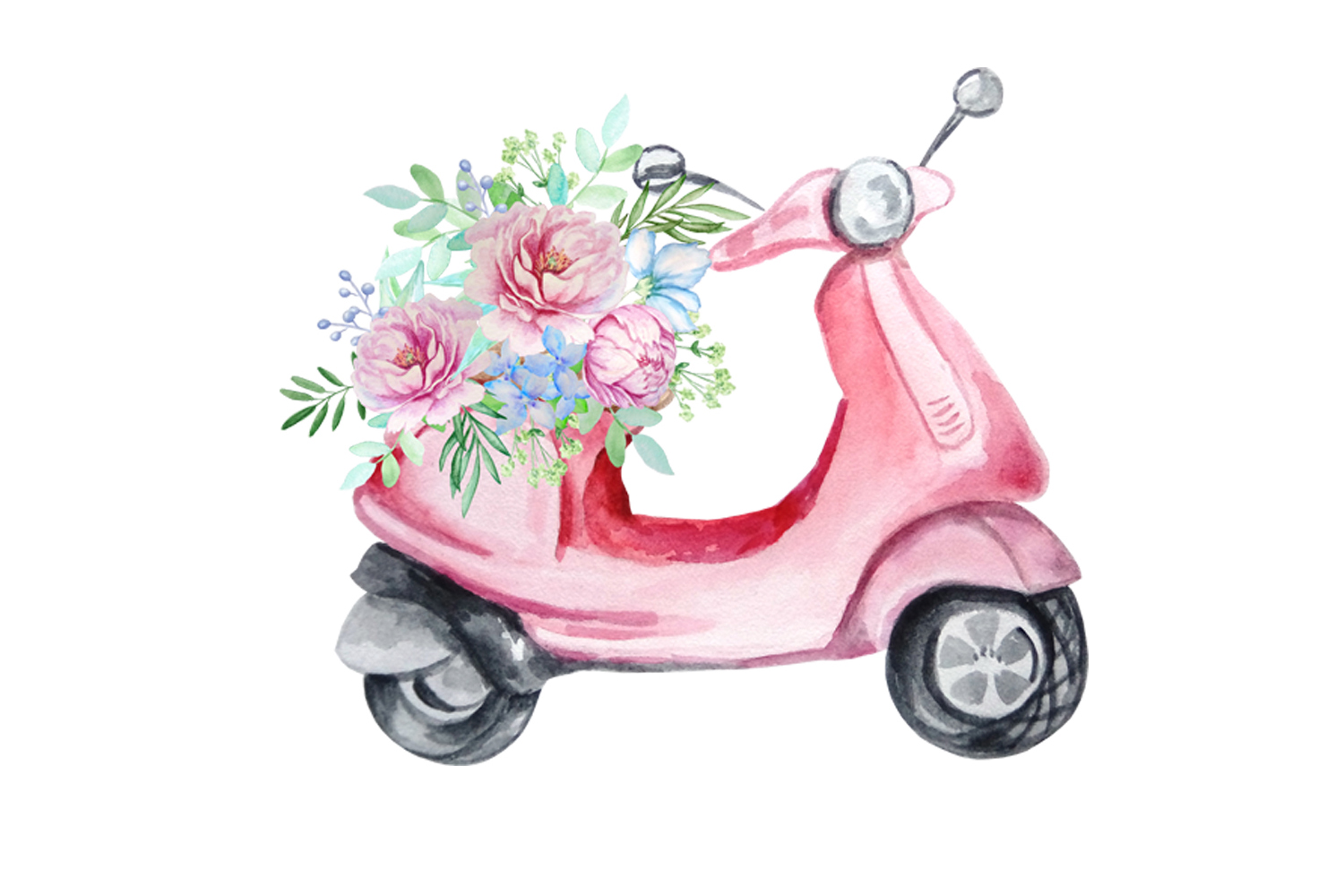 Watercolor Retro Red Moped Clipart Set example image 9