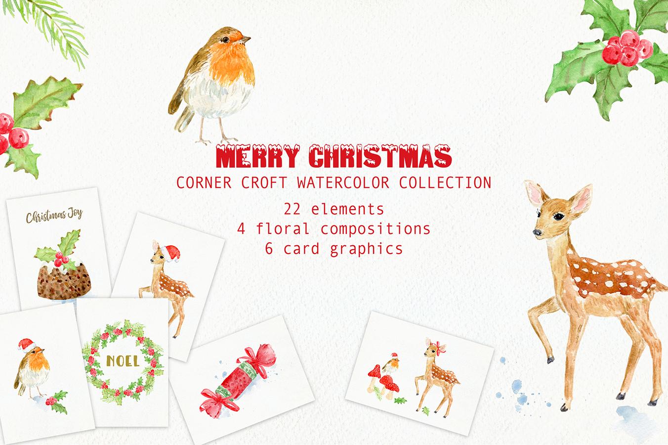 Watercolor Christmas Card Design Kit example image 1