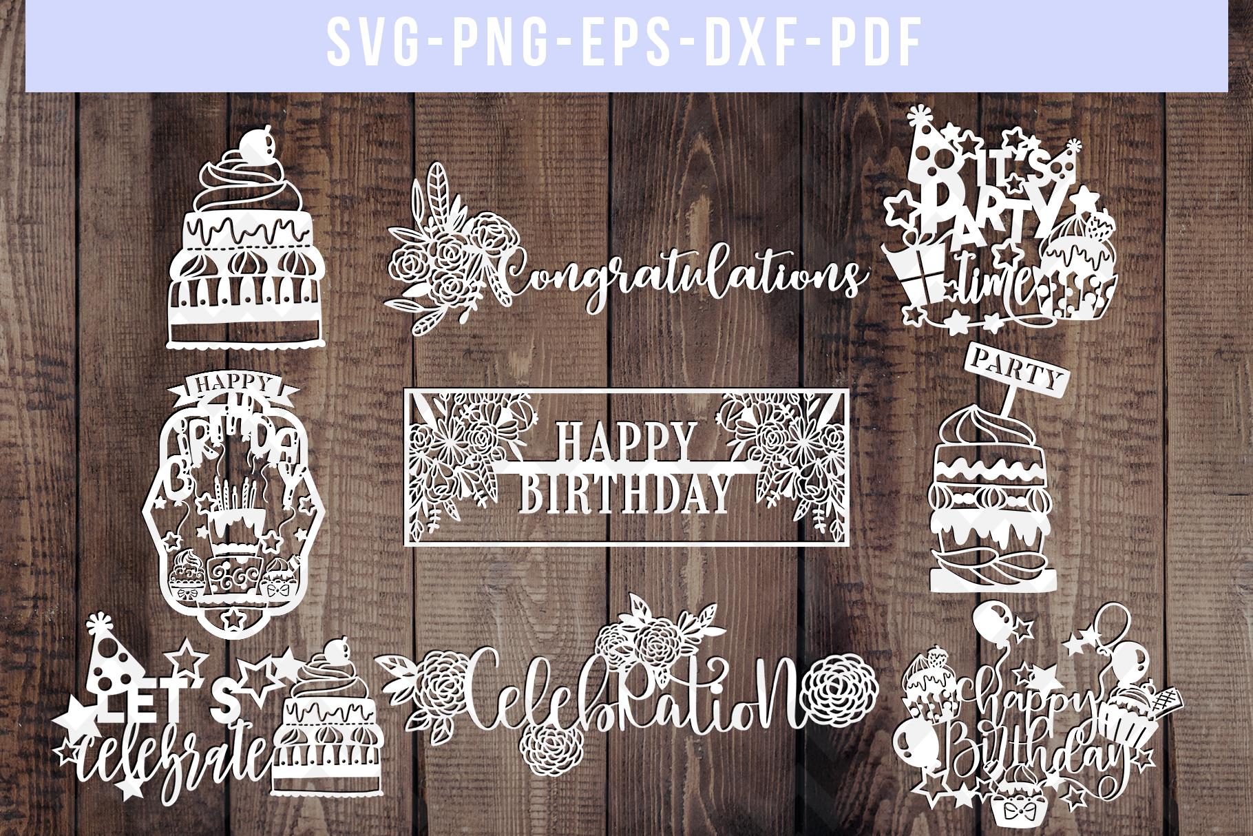 Bundle Of 9 Birthday Papercut Templates, SVG Cut Files, PDF example image 1