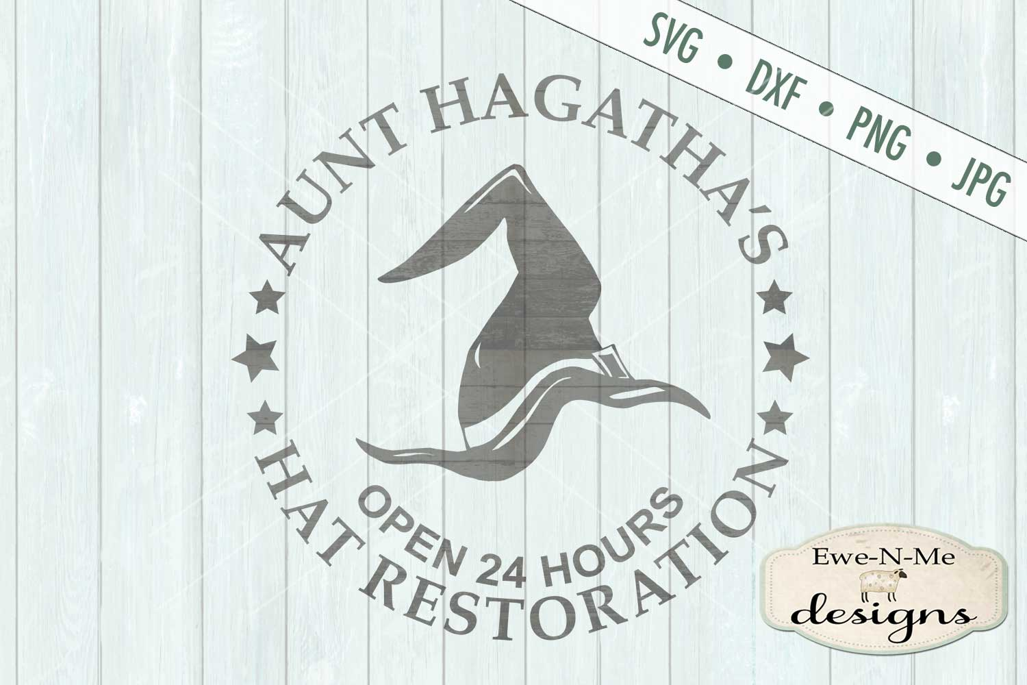 Witch Hat Restoration Aunt Hagatha Halloween SVG DXF Files example image 2