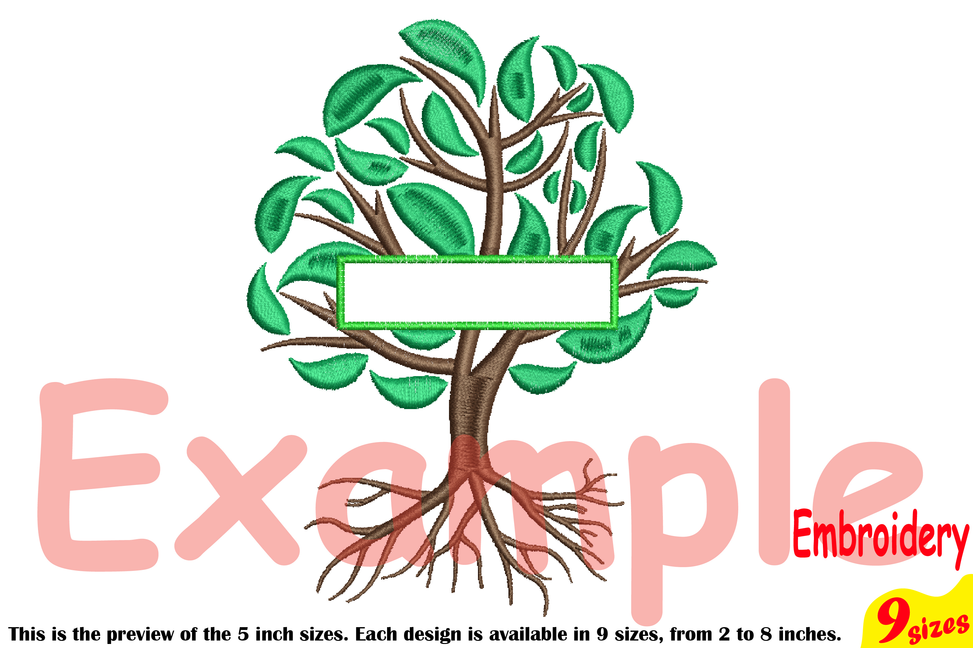 Family Tree Split Embroidery Design Machine Instant Download Commercial Use digital Outline family love Frame Deep Roots Branches 209b example image 4