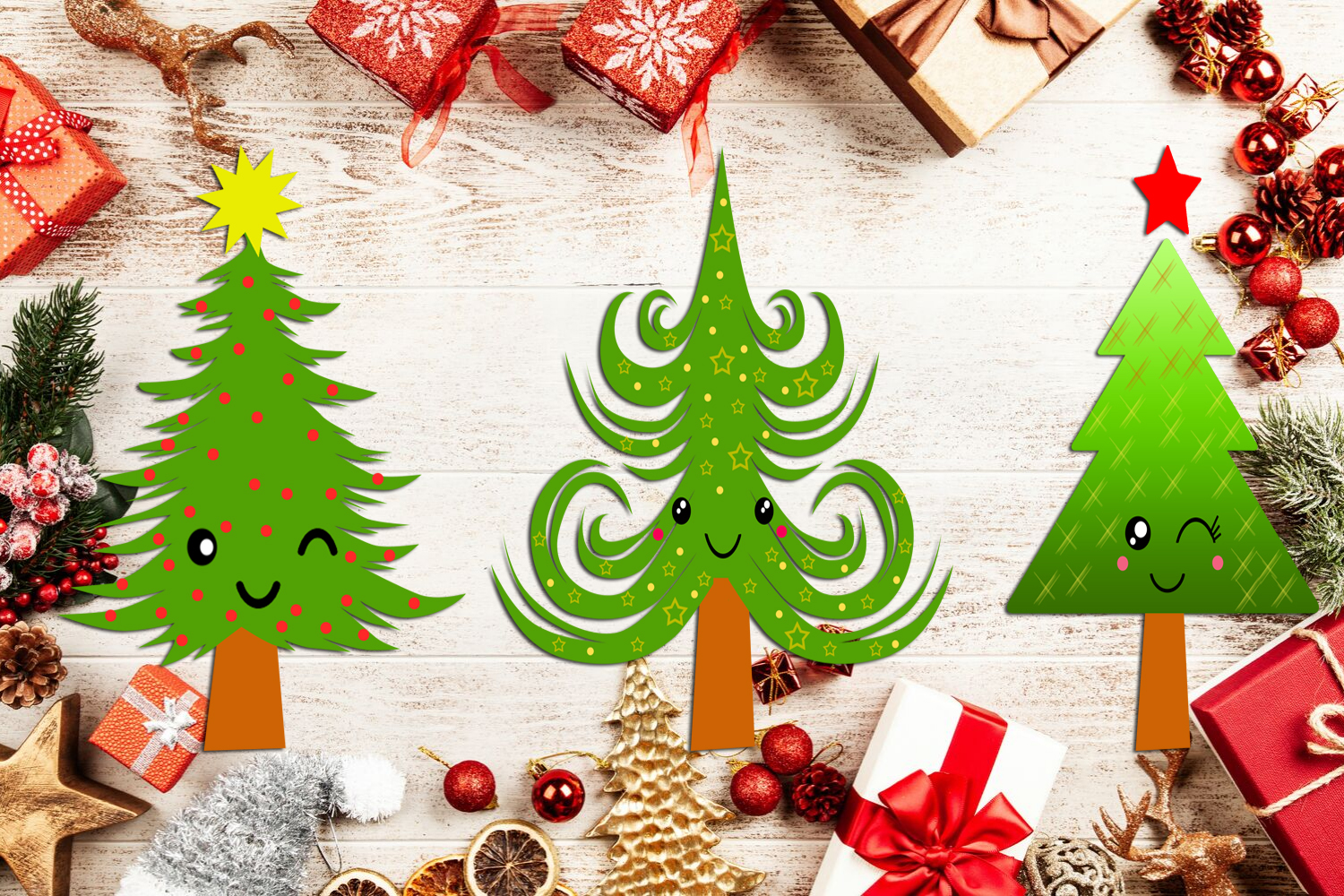 Cute Kawaii Christmas Trees Clipart- Xmas Trees Clipart example image 8