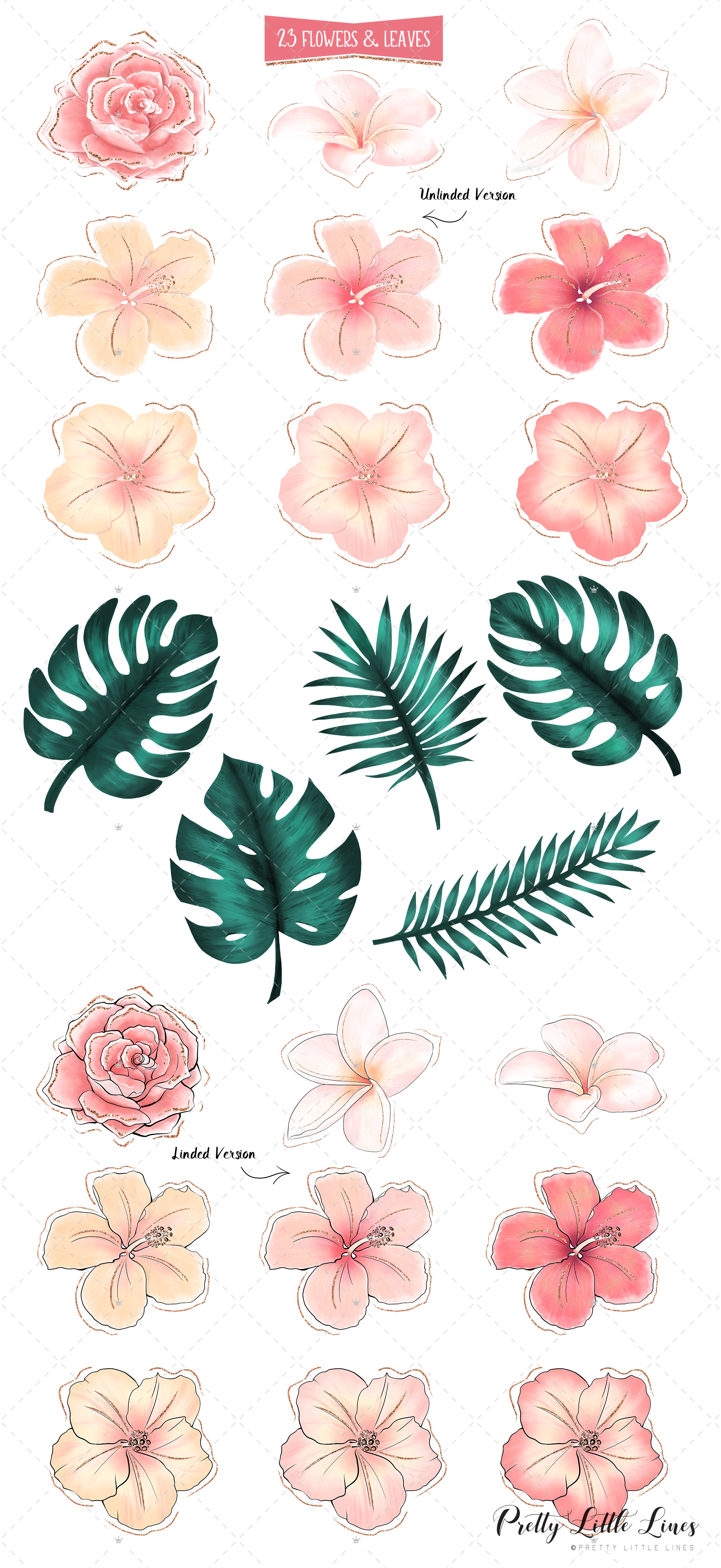 Tropical Flowers & Flamingos example image 13