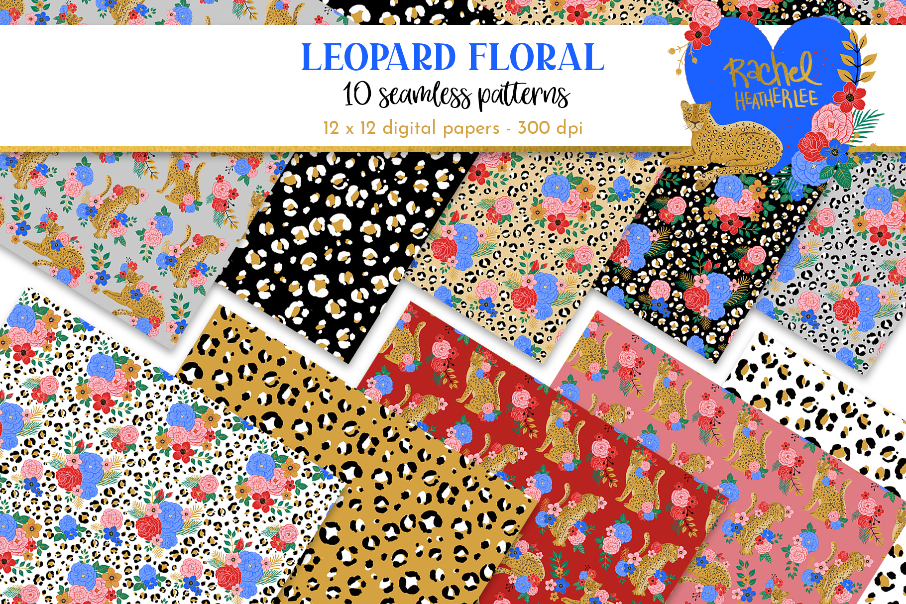 Leopard Floral Clipart & Patterns example image 2