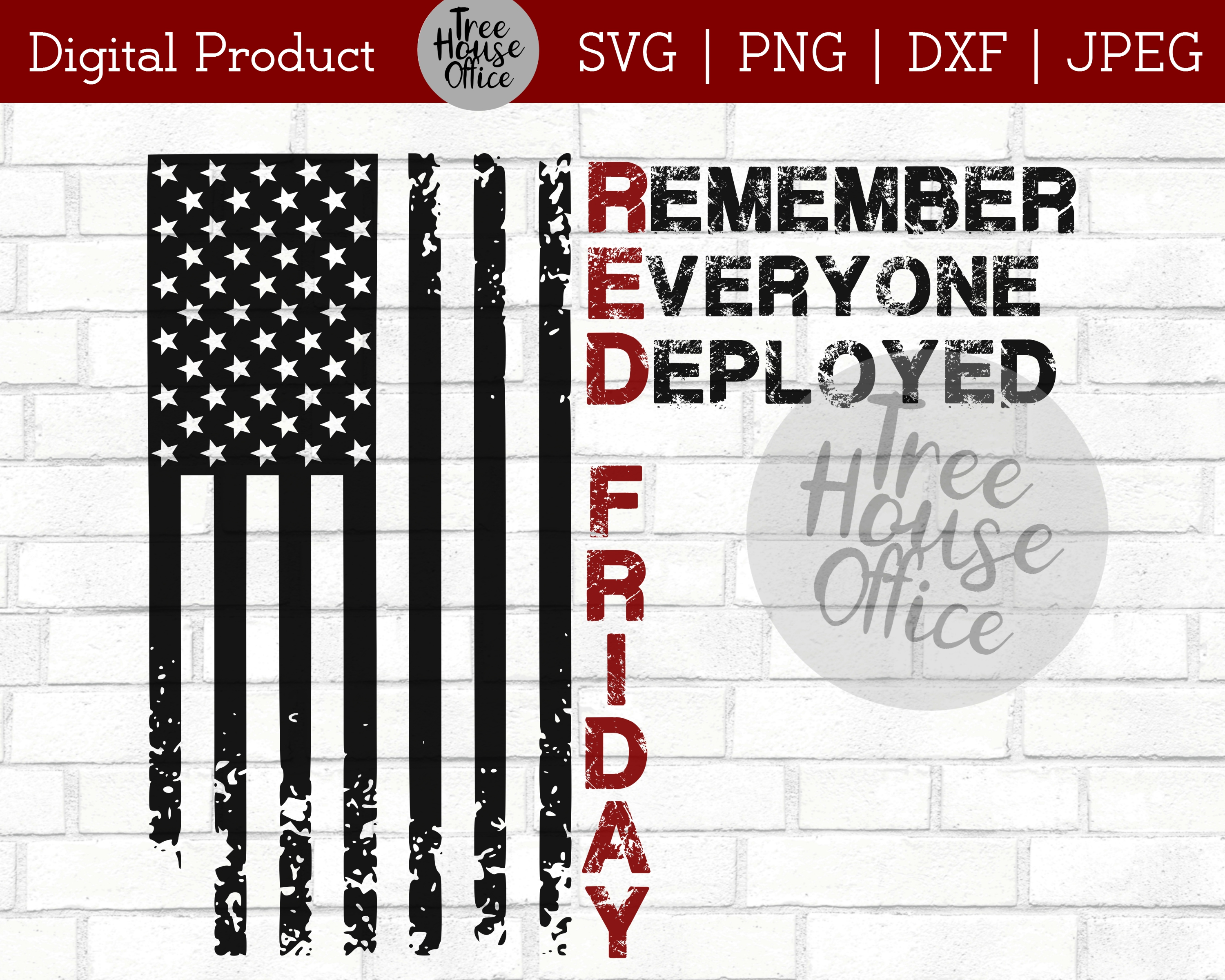 RED Friday Remember Everyone Deployed Veterans SVG PNG JPEG example image 5