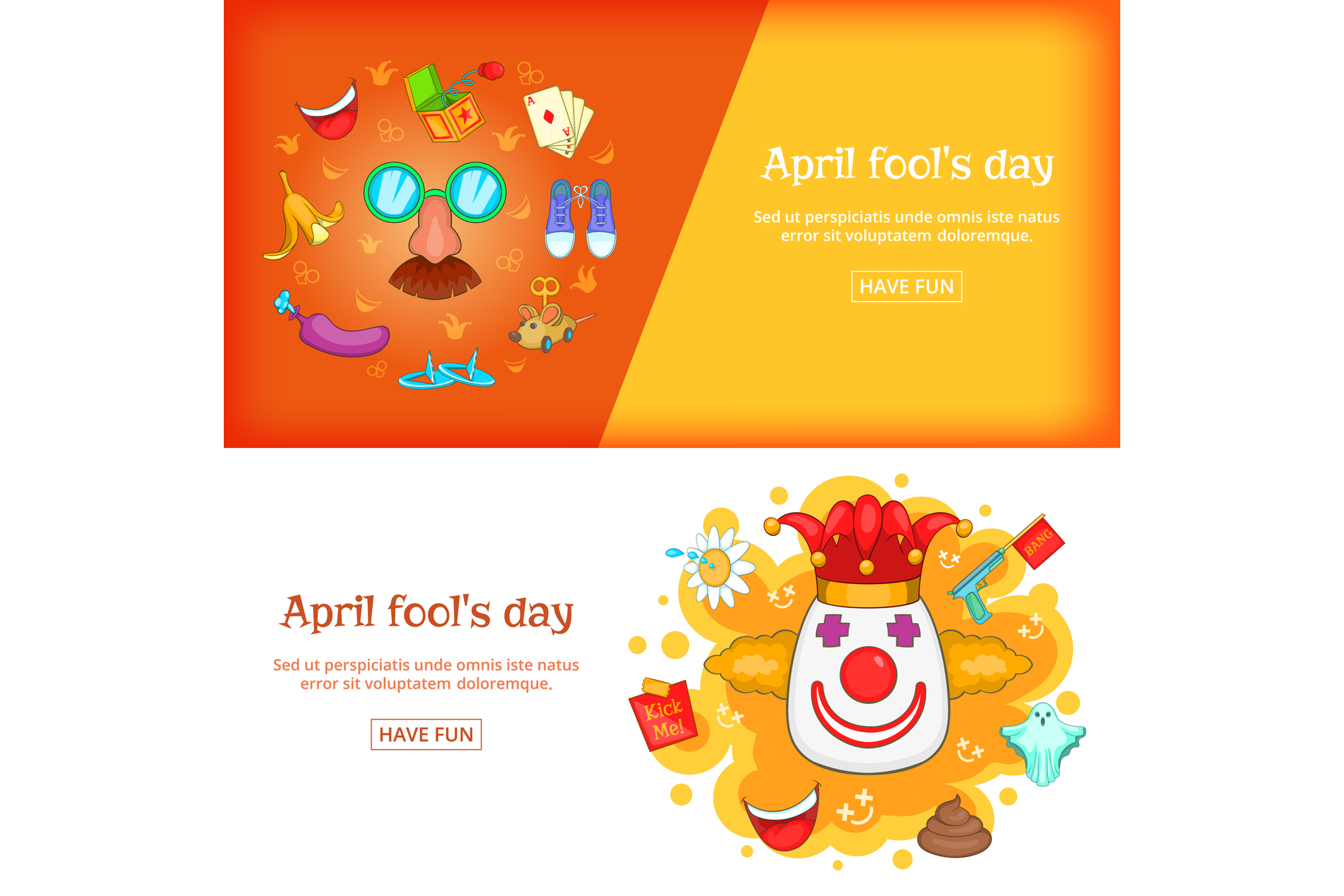 April Fools Day banner set template, cartoon style example image 1