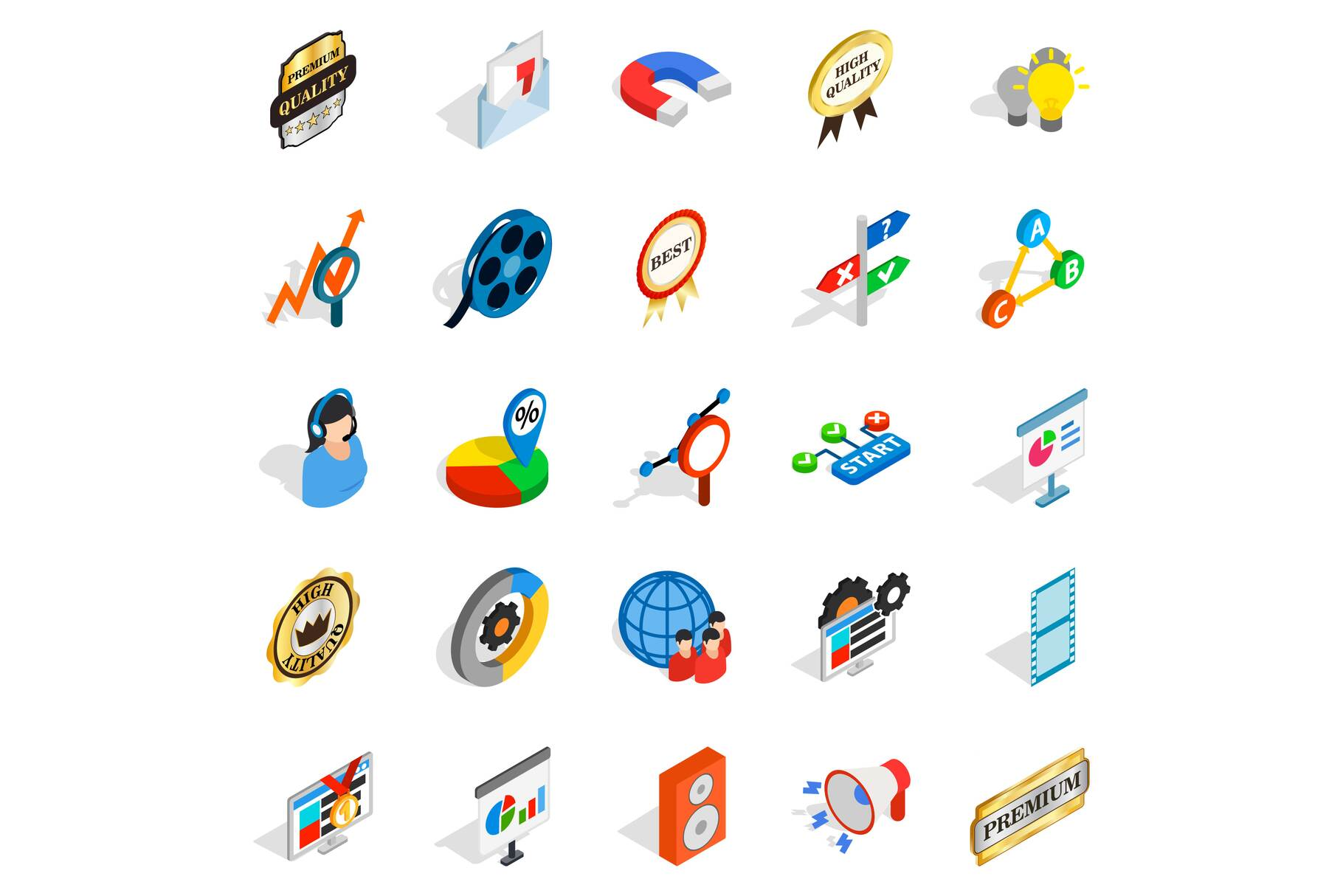 Call service icons set, isometric style example image 1