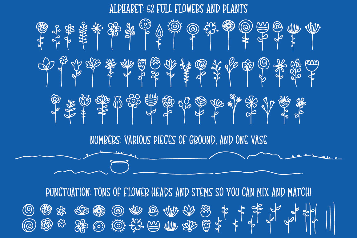 Bloomdings - abstract floral dingbats! example image 2