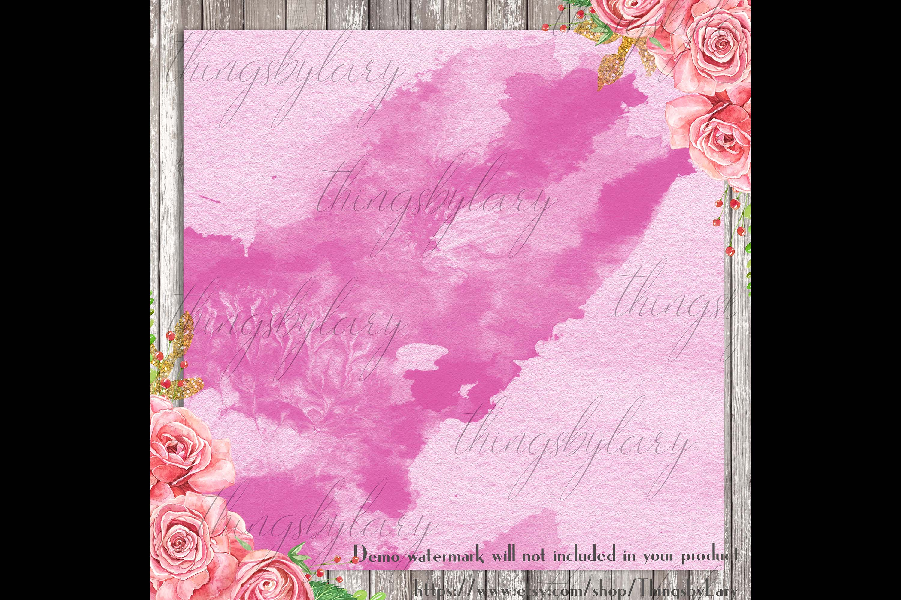 30 Ombre Olive & Fuchsia Painted Watercolor Digital Papers example image 2