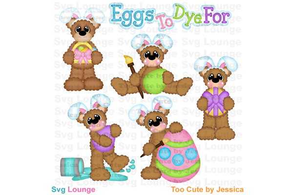 Easter Bunny Bears and Eggs SVG Cut File example image 1